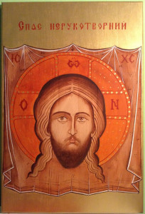malba na drevo - tvar krista